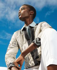 Boxy linen blend jacket with embroideries