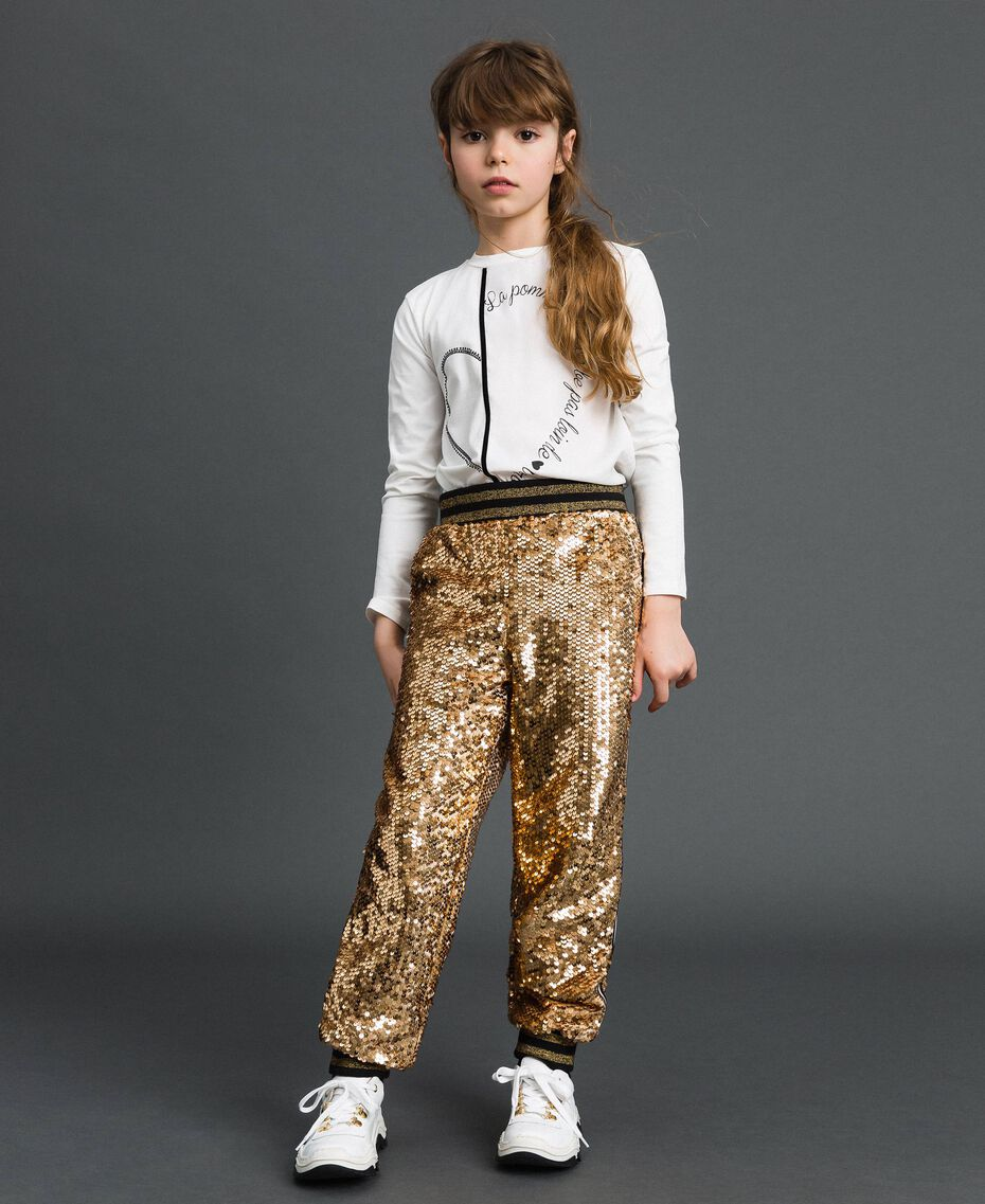 "Velvet and sequin jogging trousers ""Spelt"" Beige Child 192GJ2092-02"