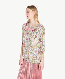 Embroidered mandarin collar top Floral Print Woman PS83LF-02