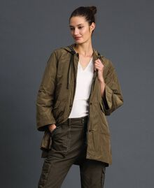 """Taffeta padded parka coat """"Military"""" Green with Gold Sequins Woman 192TP2490-01"""