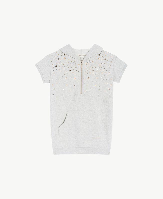 Kleid mit Nieten Hellgrau-Mélange Kind GS82G1-01