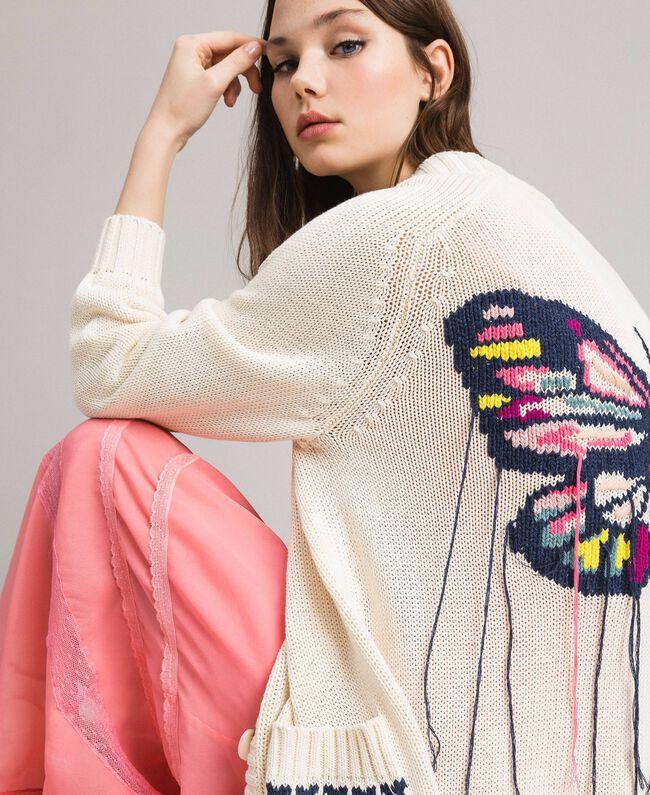 Hearts motif cotton maxi cardigan Pale Ecru Woman 191TP3111-01