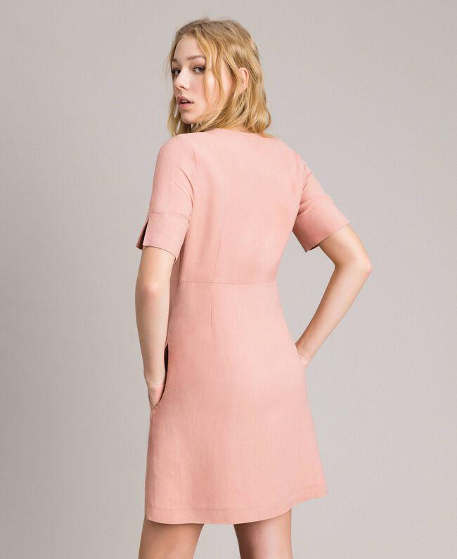 Kleid aus Leinenmischung mit Schleife Perlrosa Frau 191TP2204-04