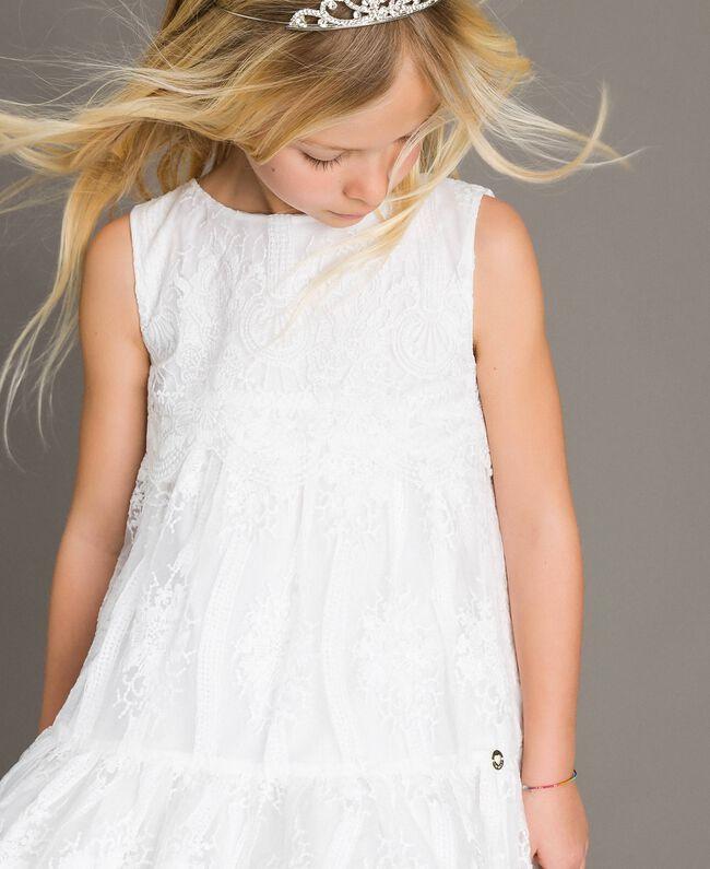 Robe en organza brodé et dentelle Blanc Enfant 191GJ2QB1-04