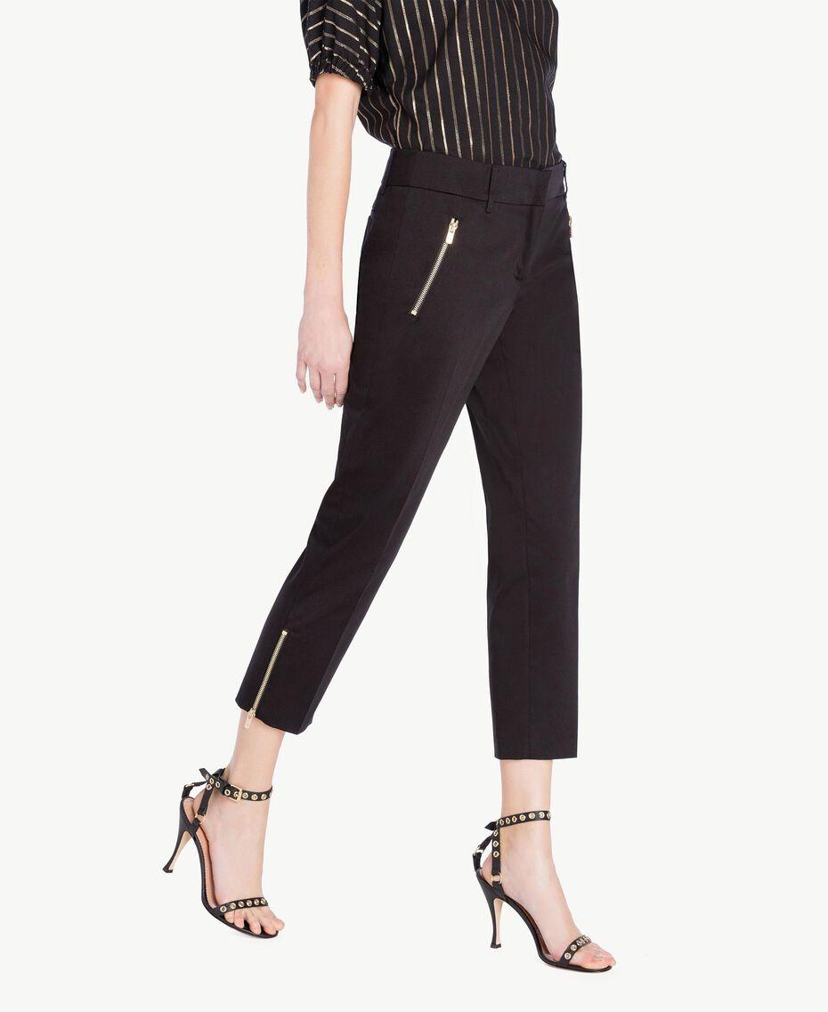 Pantalon satin Noir Femme TS826B-02