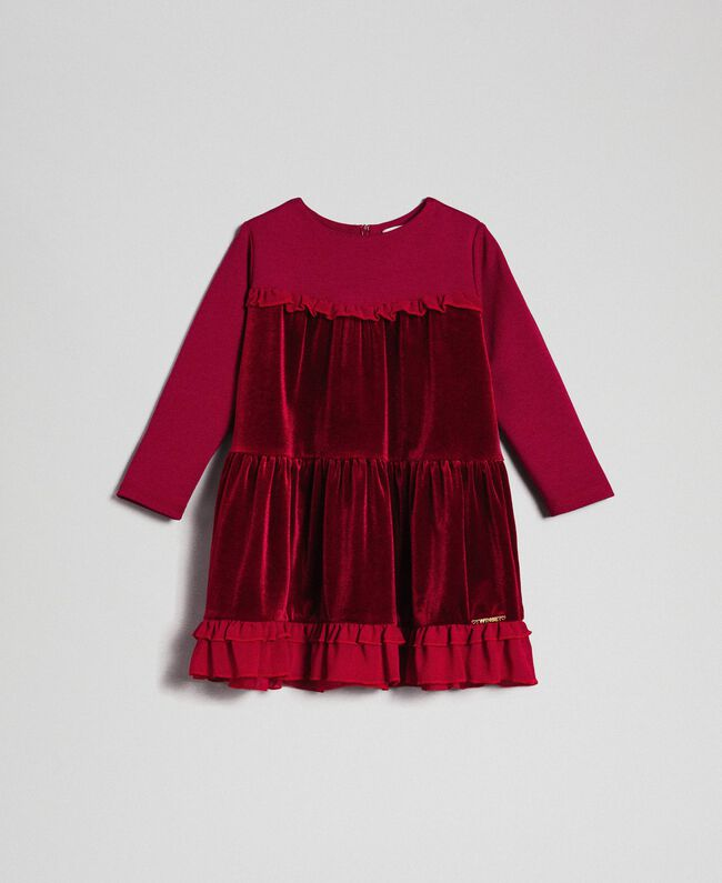 Samtkleid mit Volants aus Georgette Ruby Wine Rot Kind 192GB2271-01