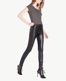 Faux leather leggings Black Woman PS82GA-02