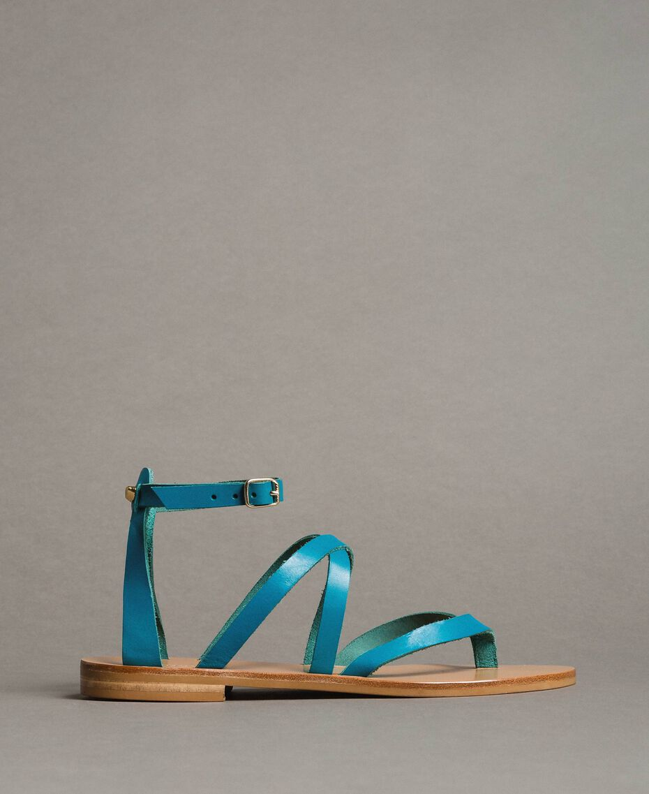 Leather sandals with straps Tile Blue Woman 191TCT09U-02