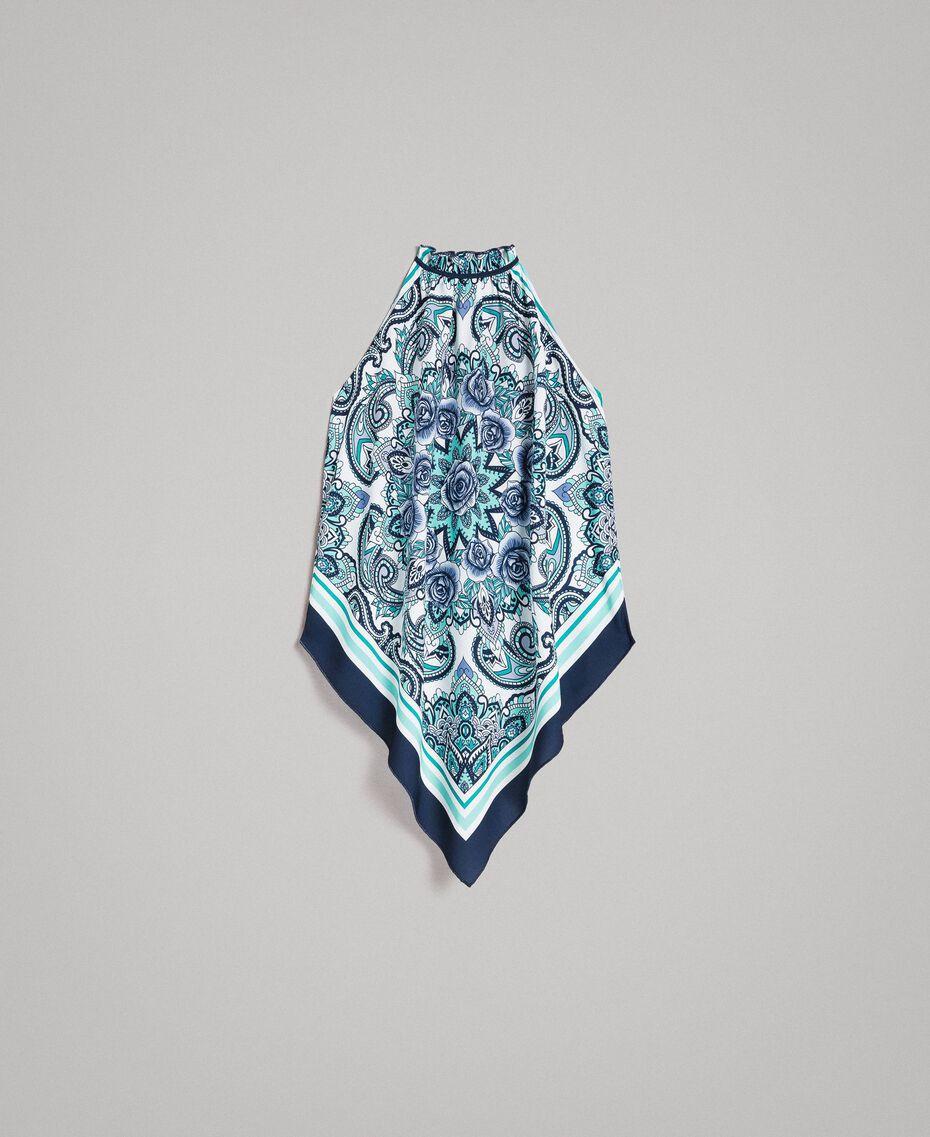Schal-Top aus Chinakrepp Motiv Blunight Dressing Schal Frau 191MT2121-0S