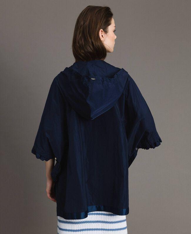Taffeta poncho with hood Blue Shadow Woman 191ST2010-04