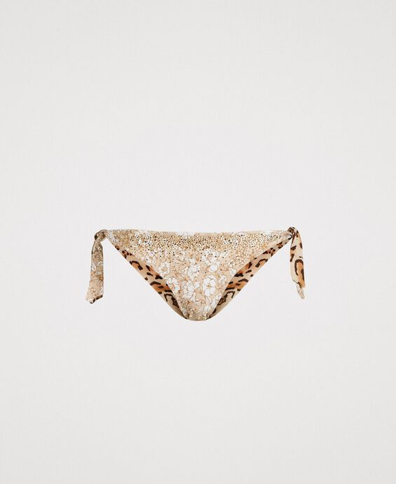 Thong with floral pattern and studs