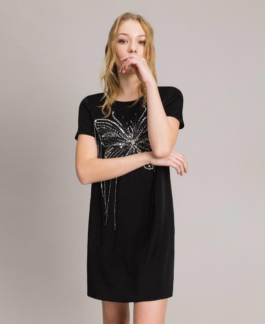 Robe tunique avec broderie papillon et franges Noir Femme 191TP269C-01