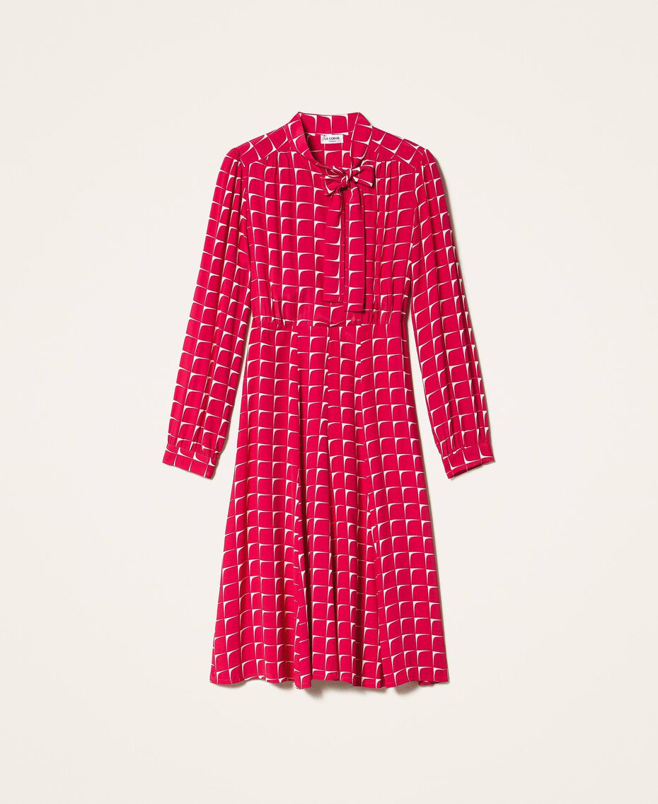 "Crêpe de Chine shirt dress with bow ""Cerise"" Fuchsia /""Dew"" White Optical Print Woman 202ST2502-0S"