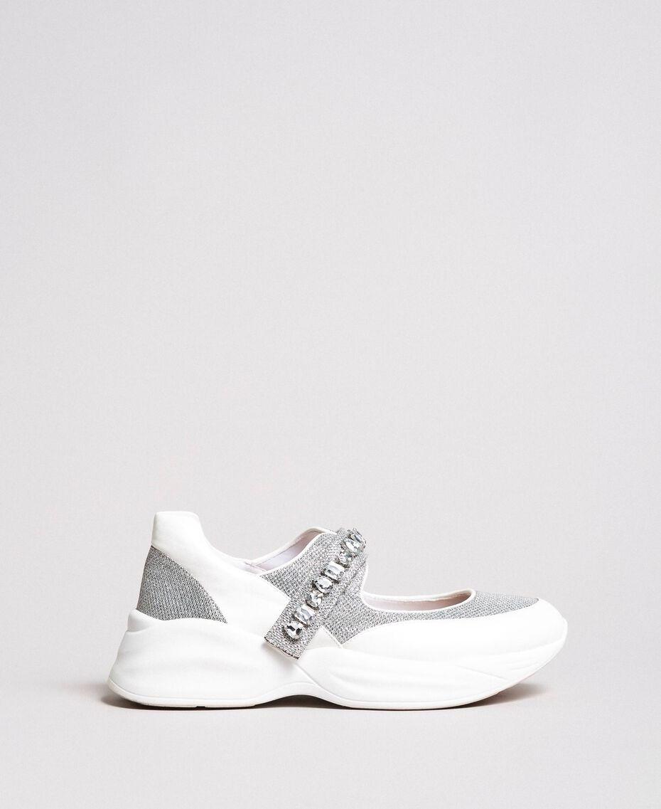 Кроссовки с камнями Сливочный White женщина 191MCP03C-02