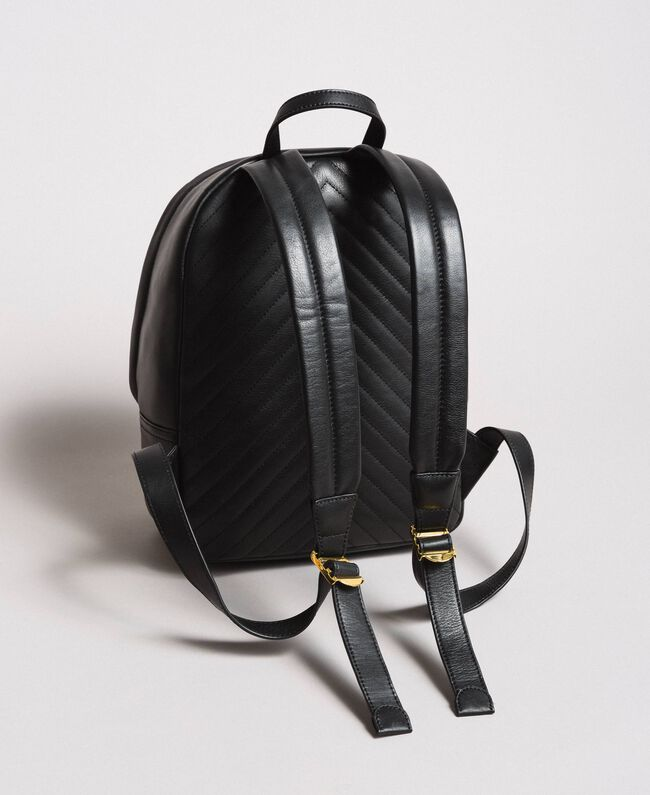 Matelassé leather backpack Black Woman 191TA7192-04