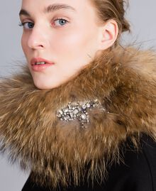 Fur collar with rhinestone bow Camel Woman AA8P9R-0S
