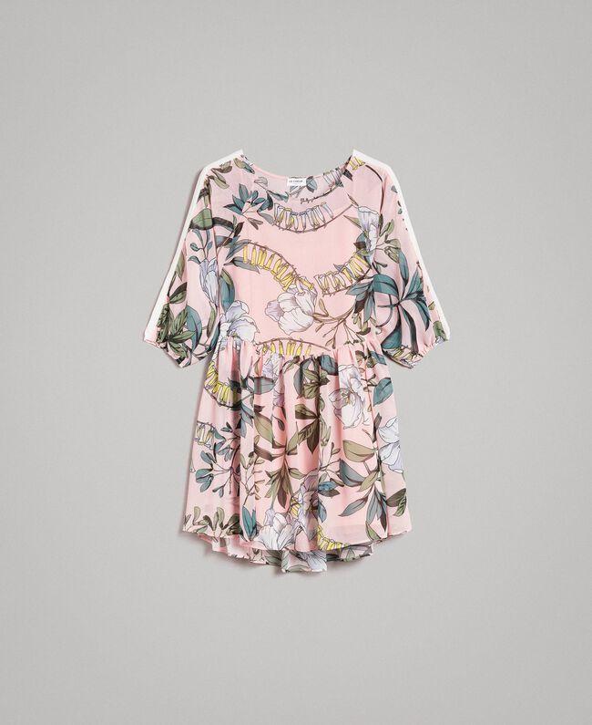 """Robe tunique en crêpe georgette avec imprimé floral Imprimé Exotique """"Rose Doux"""" Femme 191ST2222-0S"""