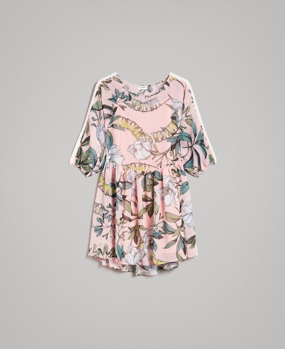 """Floral print georgette tunic dress """"Soft Pink"""" Exotic Print Woman 191ST2222-0S"""