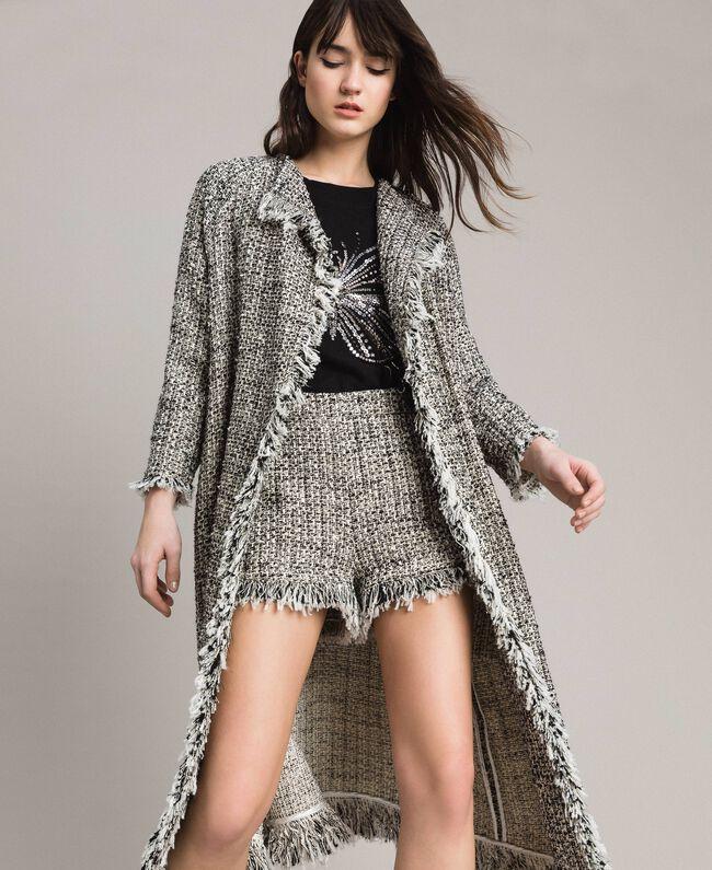 De Mujer Flecos Tweed Negro Milano Abrigo Con Twinset Duster 1wX5Iqp