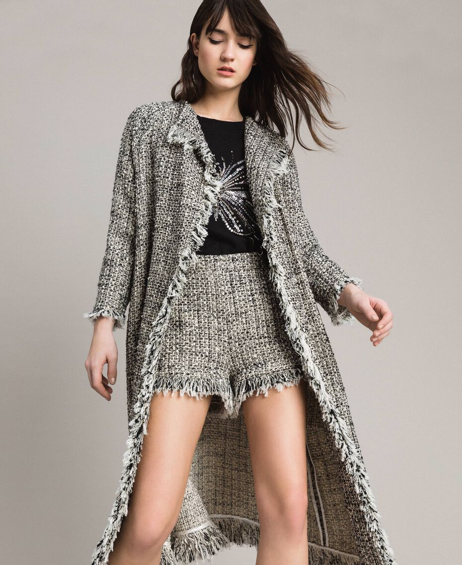 """Fringed tweed duster coat Two-tone """"Snow"""" White Bouclé / Black Woman 191TP2521-02"""