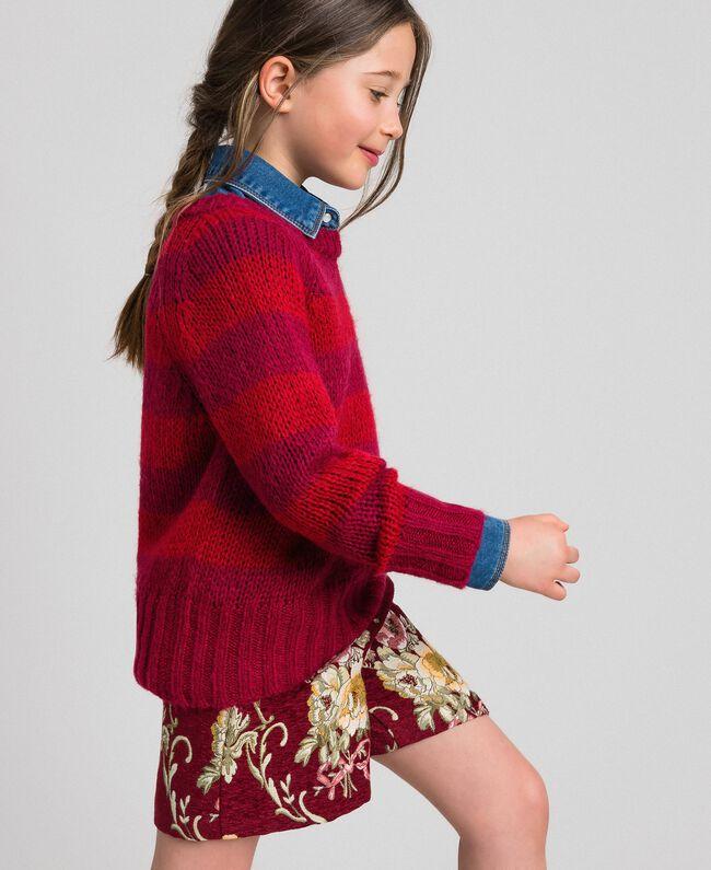 Zweifarbig gestreifter Pullover aus Mohair Jacquard Streifen Weinrubinrot / Rot Kind 192GJ3220-01