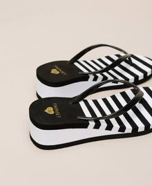 Striped thong sandals with wedge Two-tone Black / Optical White Woman 201LMPZWW-03