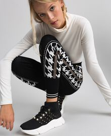 """Jogging trousers with lurex band on the sides Black / """"Vanilla"""" White Woman 192MT3111-05"""