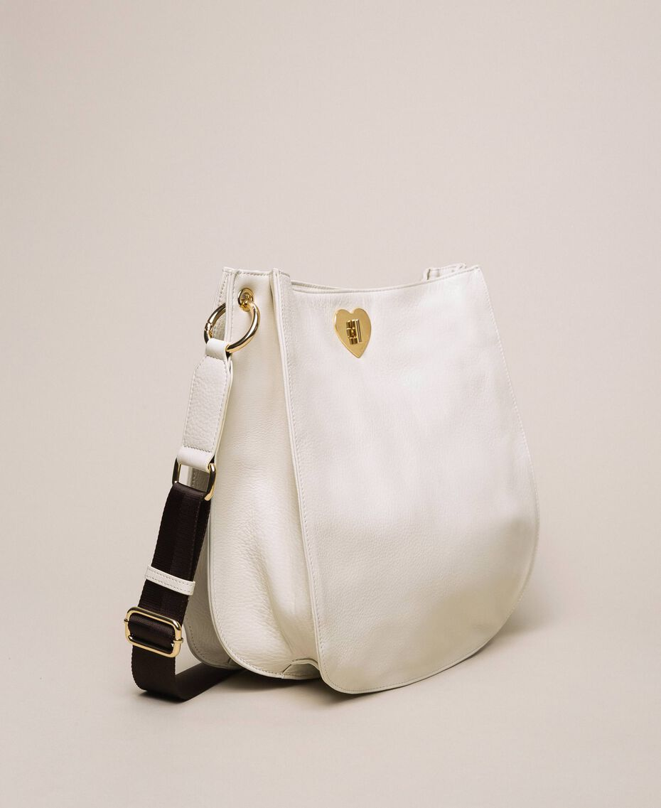 Leather hobo bag with heart White Snow Woman 201TA7050-02