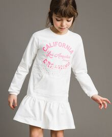 Fleece dress with lace and print White Child 191GJ2042-0S