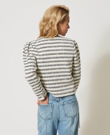 "Striped bouclé jacket ""Ivory Mat"" Grey / Blue Light Stripe Woman 211TT2051-04"
