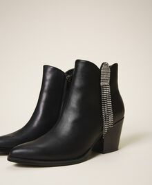 Ankle boots with rhinestone fringe Black Woman 202MCT062-02