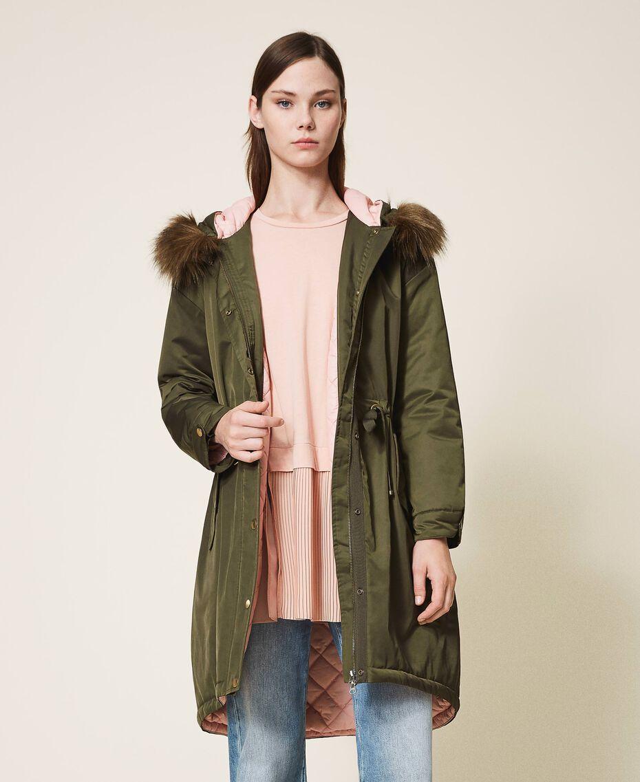 Parka con capucha y pelo sintético Dark Olive Green Mujer 202MP2020-02