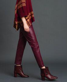 Pantalon cigarette en similicuir Rouge Violet Femme 192LI2EBB-03