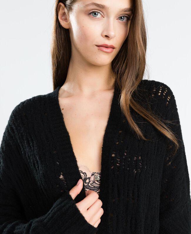 Maxicardigan aus Wollmischung Schwarz Frau LA8PAA-04