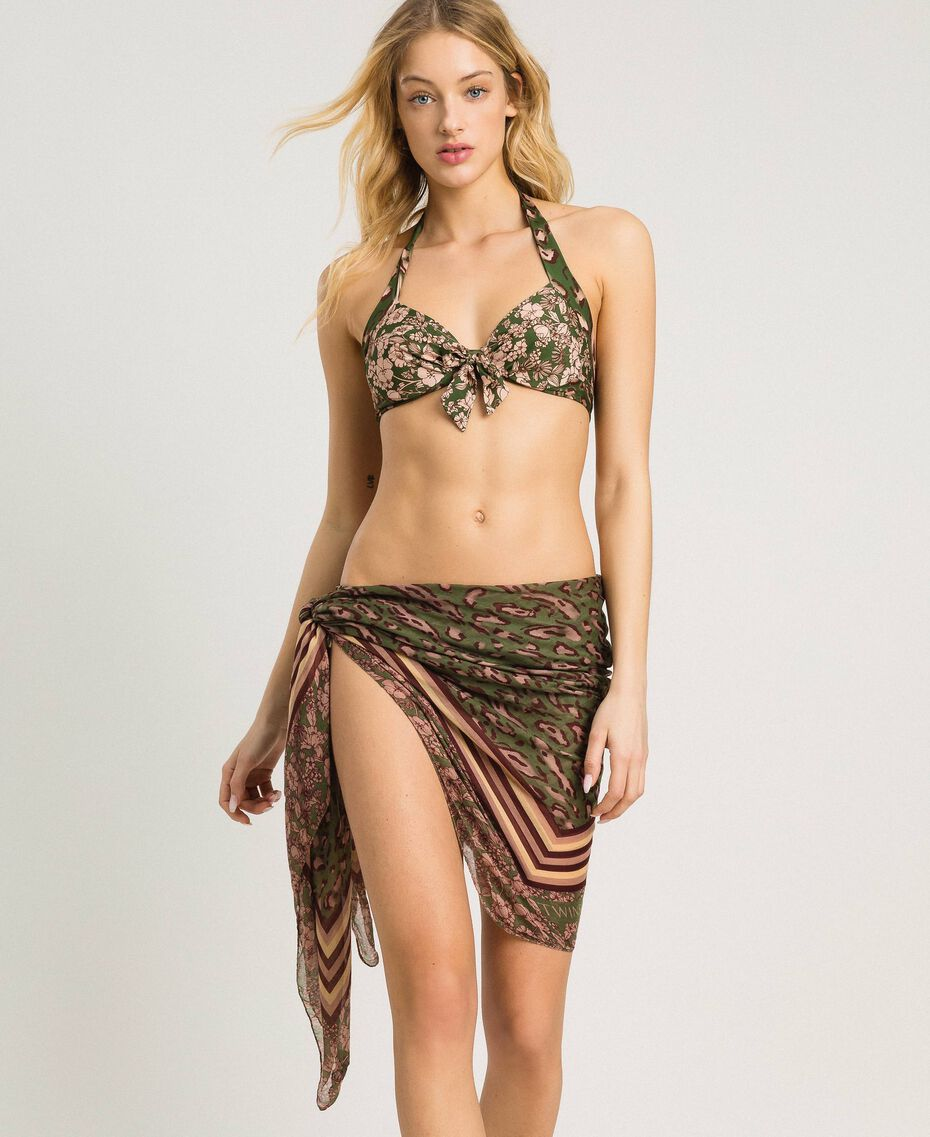 Double pattern sarong Amazon Green Animal Print Woman 191LM4UBB-0S