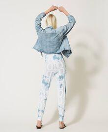 "Pantaloni jogging in maglia con logo Tie Dye Tricot Bianco ""Neve"" / Blu ""Nautical"" Donna 211TT3252-04"