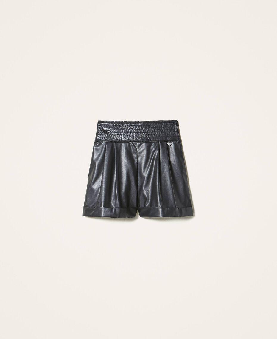 High-Waist-Shorts aus Lederimitat Schwarz Frau 202TP2060-0S