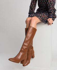 Leather high boots Leather Brown Woman 192TCP100-0S