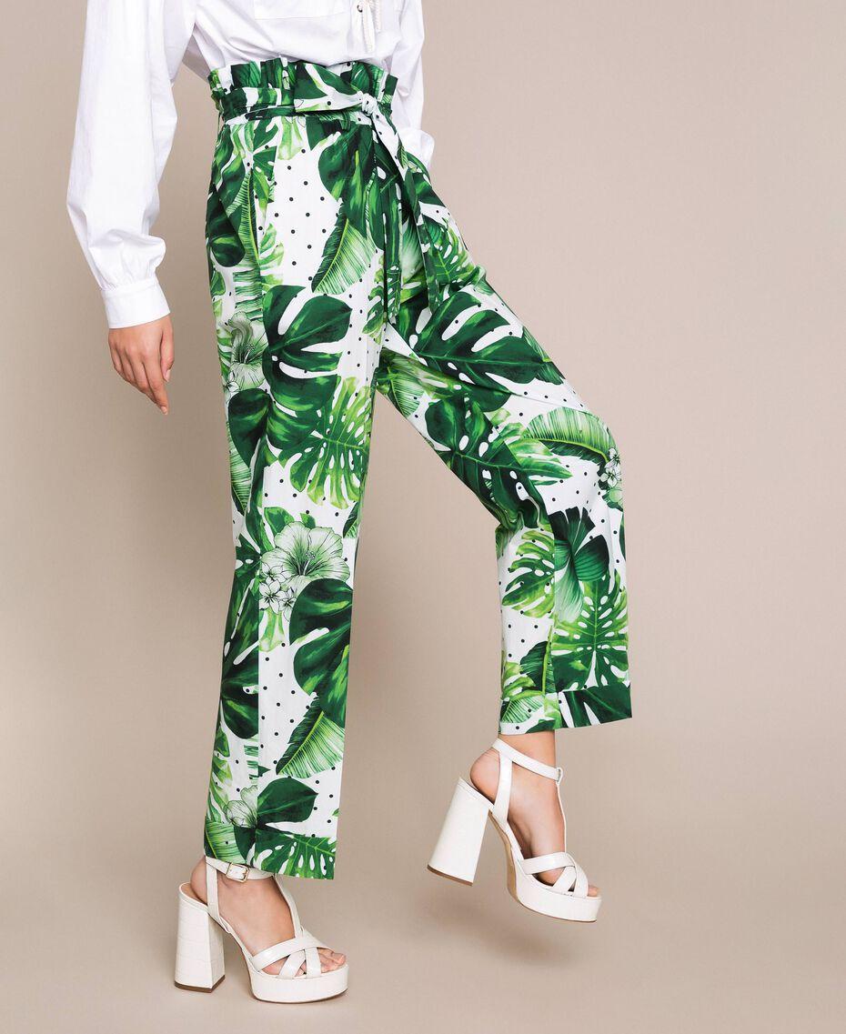 Брюки с высокой талией из набивного поплина Принт Тропический Горошек Зеленый женщина 201TP2553-02