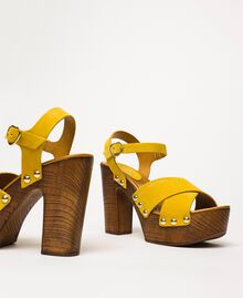 Suede clog sandals Ochre Yellow Woman 201MCT01A-01