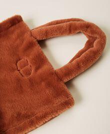 """Plush shopper with logo """"Tan Powder"""" Brown Woman 212TB7350-02"""