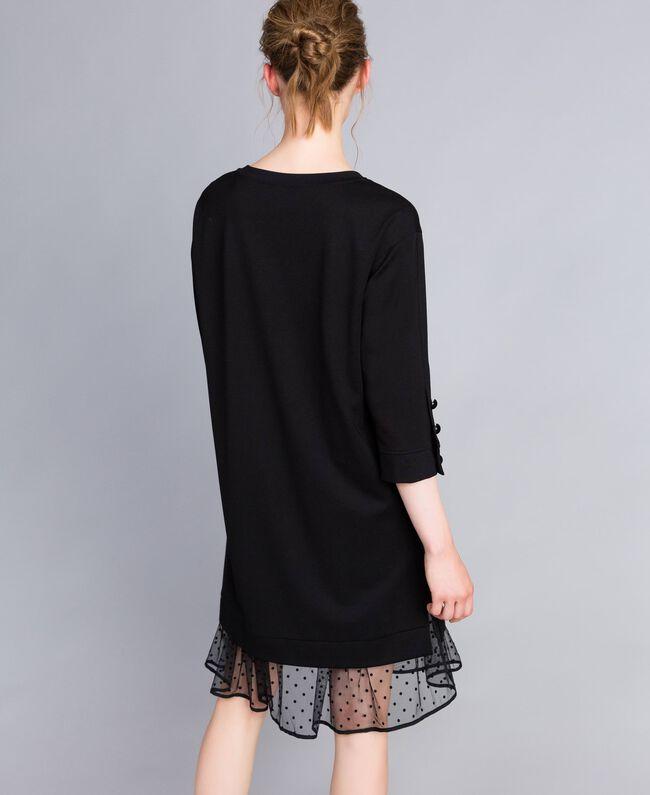 Kleid aus Interlock-Jersey mit Flockknöpfen Schwarz Frau PA82BP-03