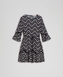 "Floral and chevron print dress with lace Black / ""Snow"" Chevron Print Woman 192TP2520-0S"