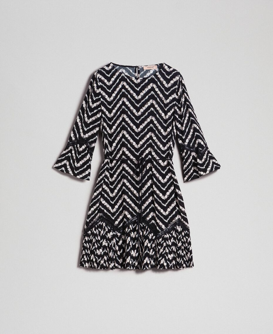Robe avec imprimé floral à chevrons et dentelle Imprimé Chevrons Noir / Blanc Neige Femme 192TP2520-0S