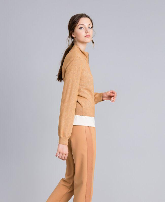 """Lurex yarn cardigan """"Amber Dust"""" Brown Woman IA82HH-03"""