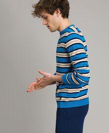 "Crêpe cotton striped jumper Multicolour Bay Blue / ""Blackout"" Blau / Opaque White Man 191UT3033-01"