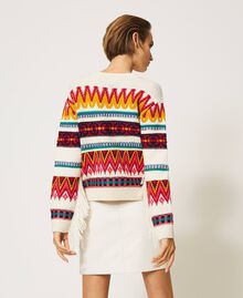 Jacquard wool blend jumper with fringes Creamy White Woman 202MP3220-04