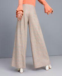 Check flannel palazzo trousers Multicolour Check Woman TA8214-03
