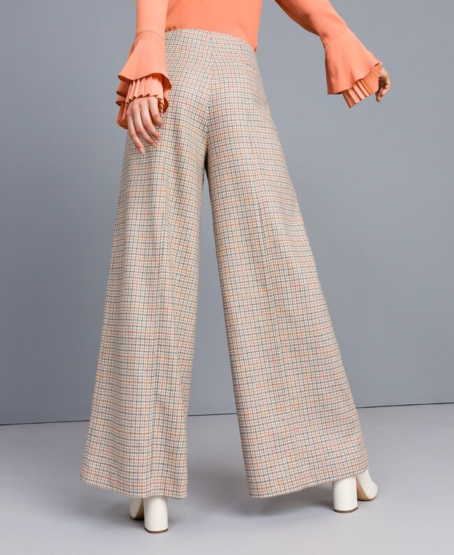 Pantaloni palazzo in flanella check Multicolor Quadri Donna TA8214-03