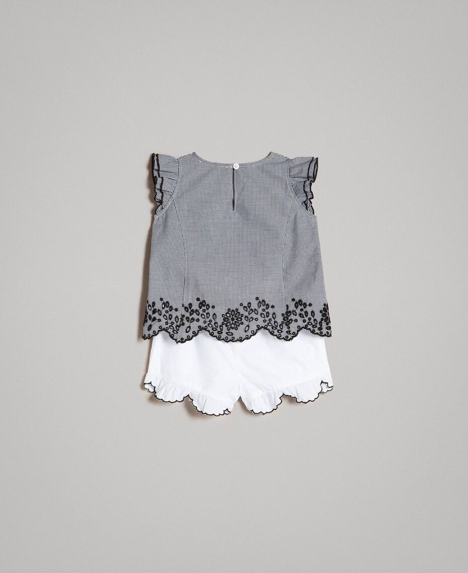 Gingham blouse and poplin shorts Two-tone Gingham / Optical White Child 191GB2192-0S